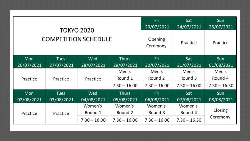 Competition Schedule Tokyo VS 2
