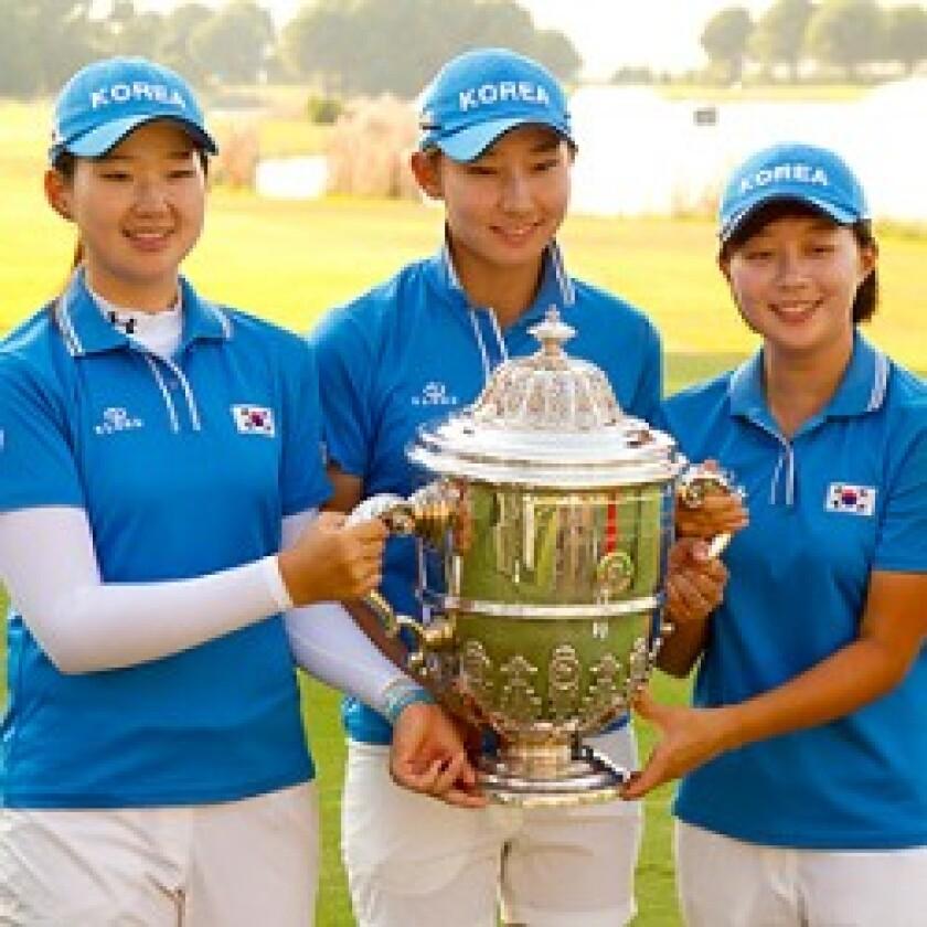 Republic of Korea players with the Espirito Santo Trophy : (Left to Right) Kyu-Jung Baek, Min-Sun Kim and Hyo-Joo Kim. (©USGA/Steve Gibbons)