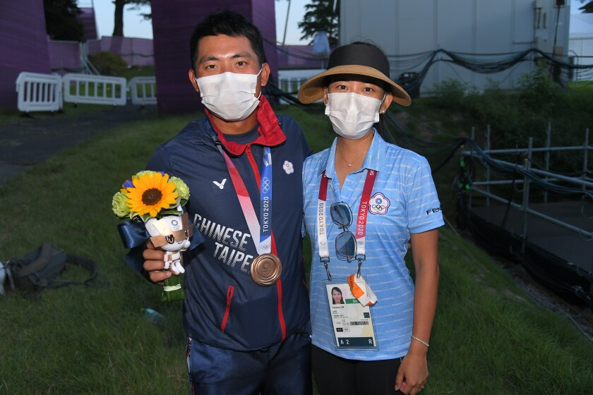 Chinese Taipei's C.T. Pan with wife Michelle. Credit IGF.png